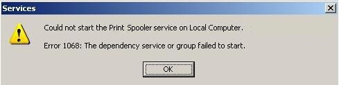 How to fix Print Spooler error 1068