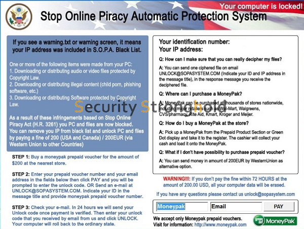 remove Stop Online Piracy Automatic Protection System Virus