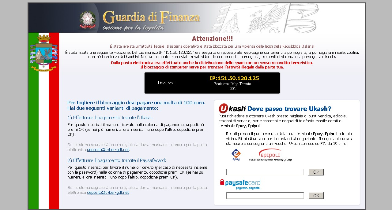How to remove Guardia Di Finanza Virus