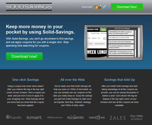 solid savings adware