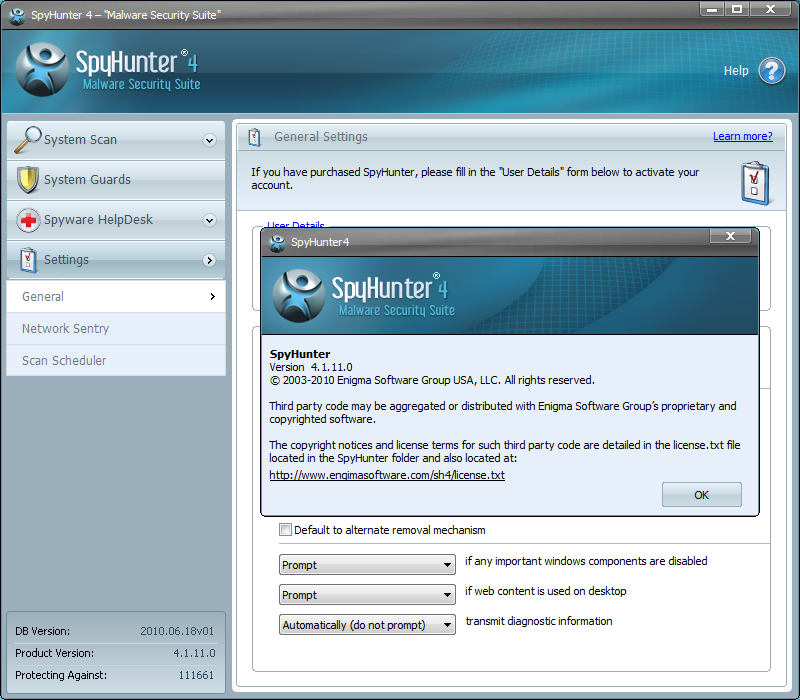 remove Winamp Toolbar with the help of Spyhunter