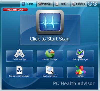 PC Health Advisor click to scan