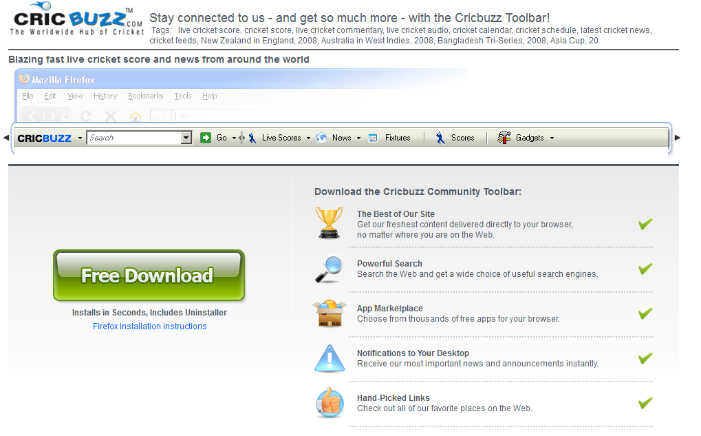 remove CricBuzz Toolbar