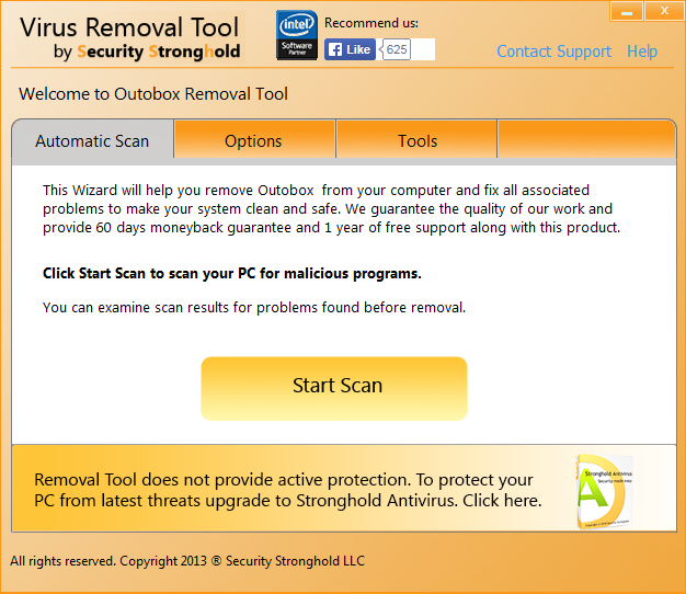 remove Outobox with Outobox Removal Tool