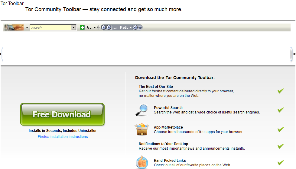 remove Tor Community Toolbar