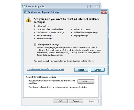 Delete Personal Settings for CouponTime removal in Internet Explorer