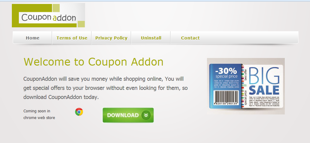 You can remove Coupon Addon from your computer