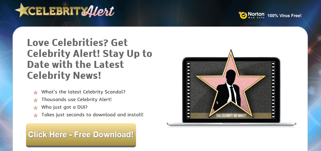 You can remove Celebrity Alert from your computer