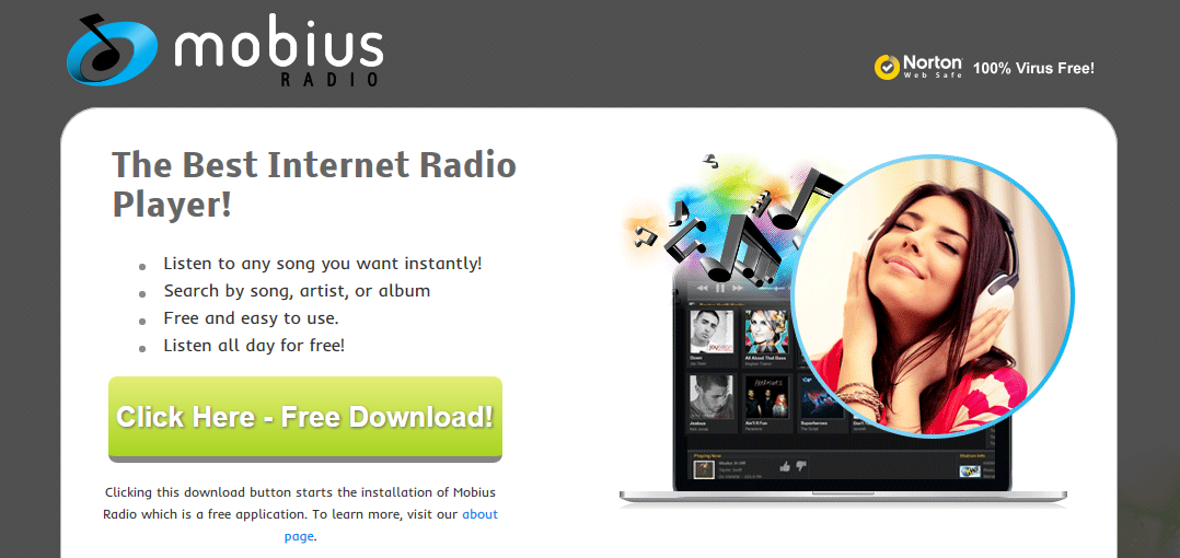 You can remove Mobius Radio from your computer