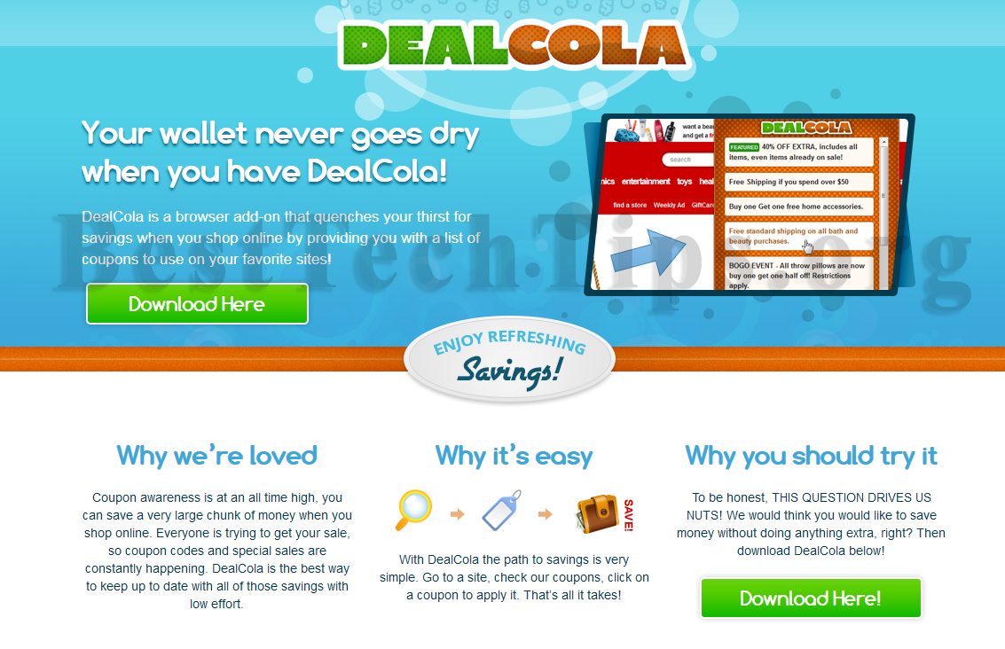You can remove DealCola from your computer