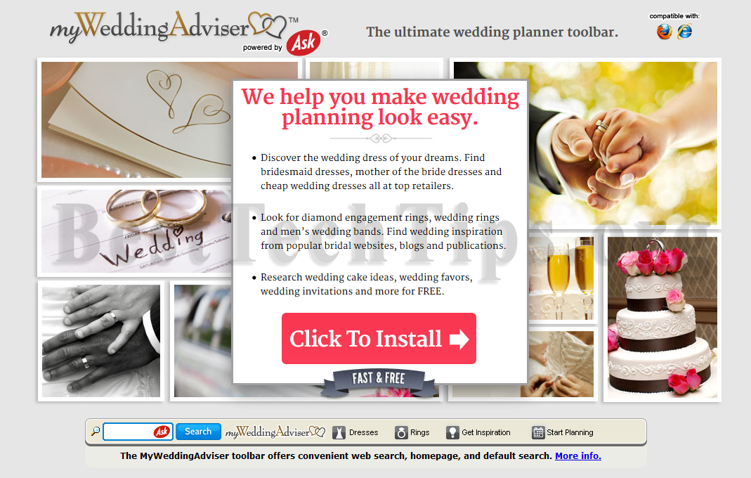 You can remove MyWeddingAdviser Toolbar from your computer