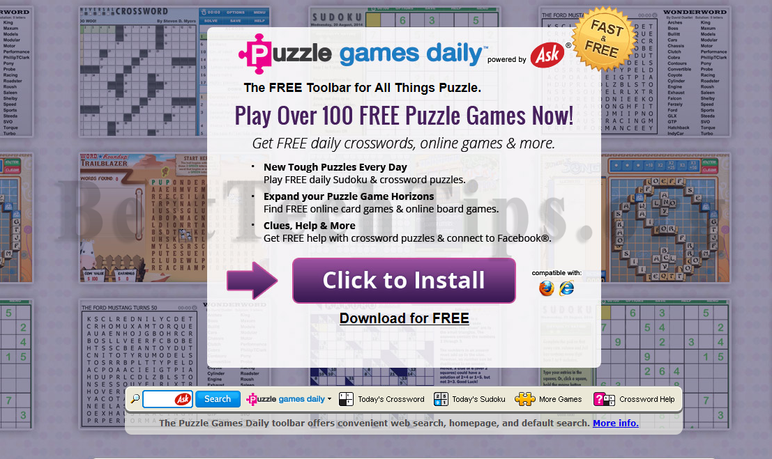 You can remove PuzzleGamesDaily Toolbar from your computer