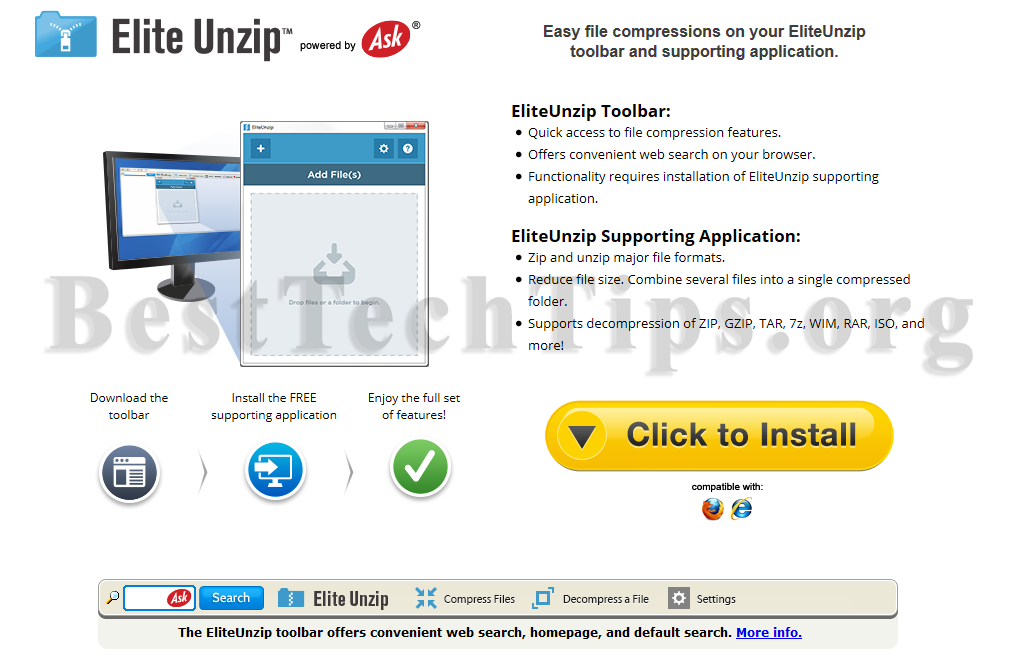 Get rid of Eliteunzip toolbar
