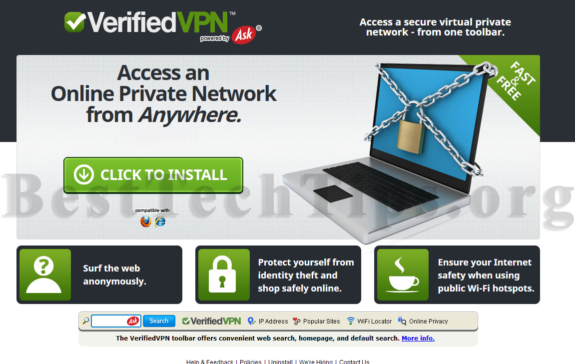 Instructions to remove VerifiedVPN Toolbar