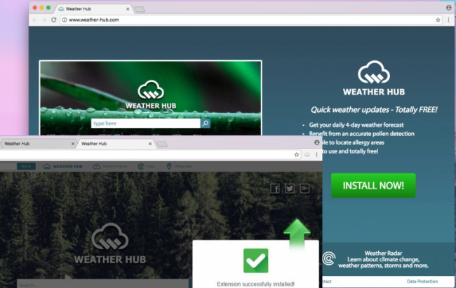 Weather Hub ads