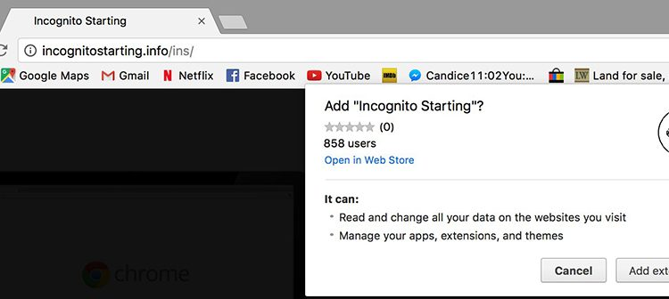 How to remove Incognito Starting