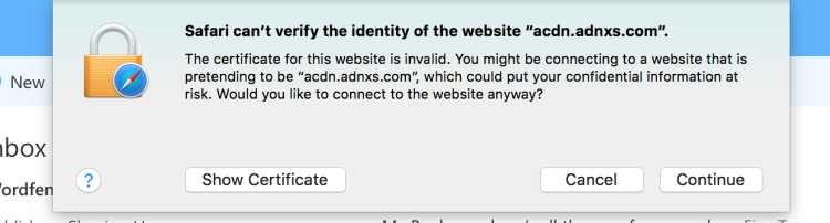 """How to remove """"Safari can't verify the identity of the website """"****"""""""" pop-up"""