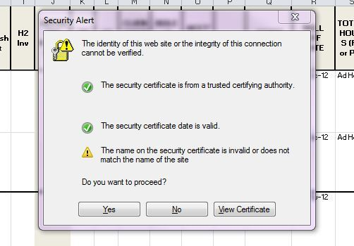 """How to remove """"The identity of this website or the integrity of this connection cannot be verified"""" pop-up"""