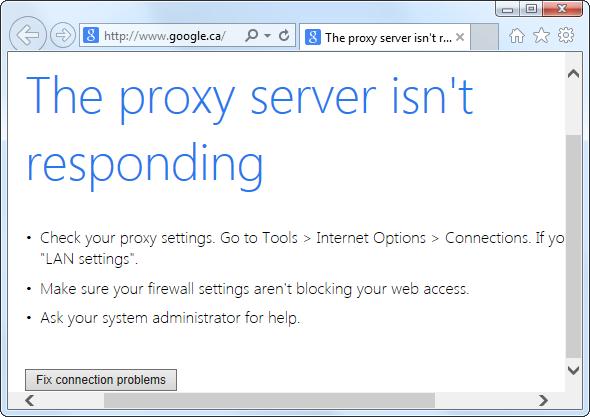 'The proxy server is not responding' error