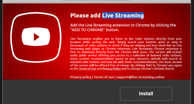 How to remove Live Streaming