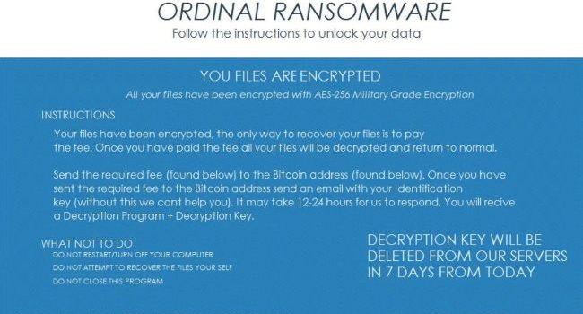 How to remove Ordinal ransomware and decrypt .ordinal files