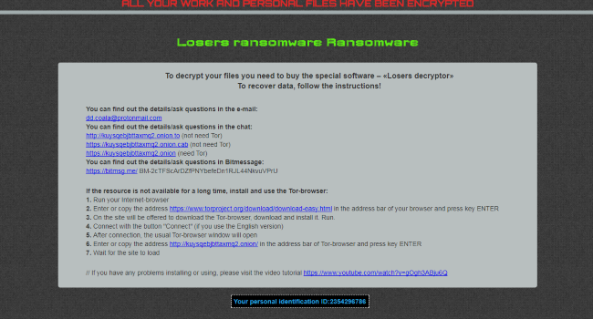 How to remove Losers Ransomware and decrypt .losers and .damoclis files