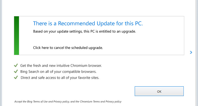 """How to remove """"There is a recommended update for this PC"""" pop-up"""