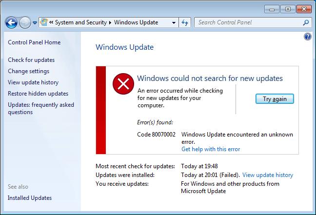 Windows update error 0x8007f0da windows hp support