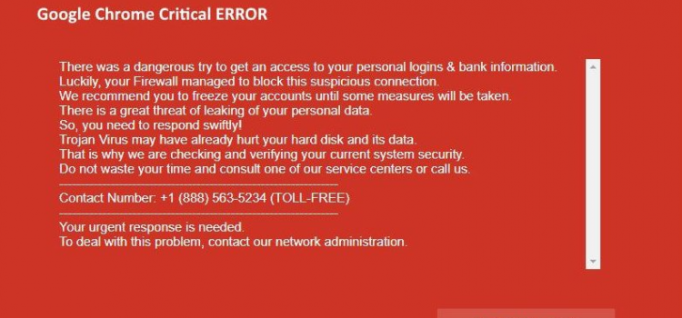 How to remove Google Chrome Critical ERROR