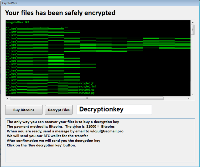 How to remove CryptoWire Ransomware and decrypt  encrypted files