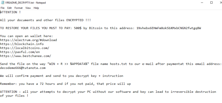How to remove PGPSnippet ransomware and decrypt .decodeme666@tutanota_com files