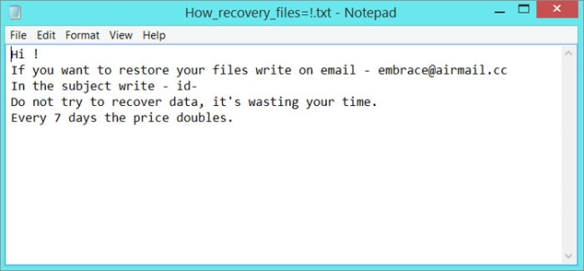How to remove Embrace Ransomware and decrypt .embrace files