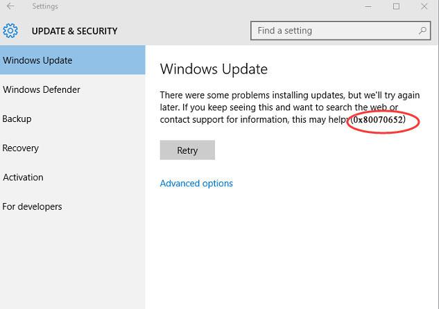 How to fix Windows 10 Update Error 0x80070652
