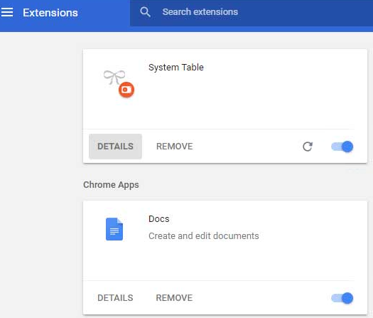 remove System Table ads