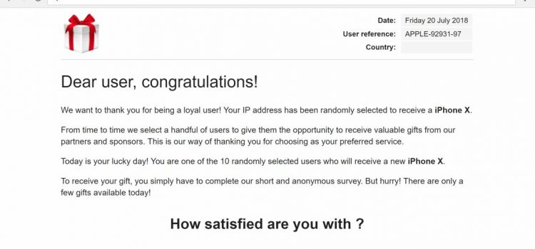 """How to remove """"Dear user, congratulations!"""" Pop-up Scam"""