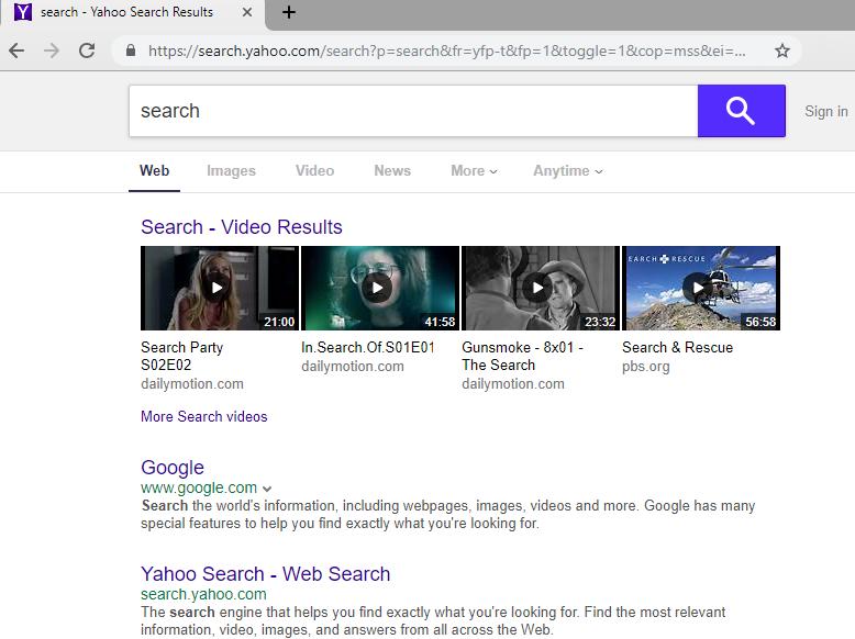 remove Yahoo Search