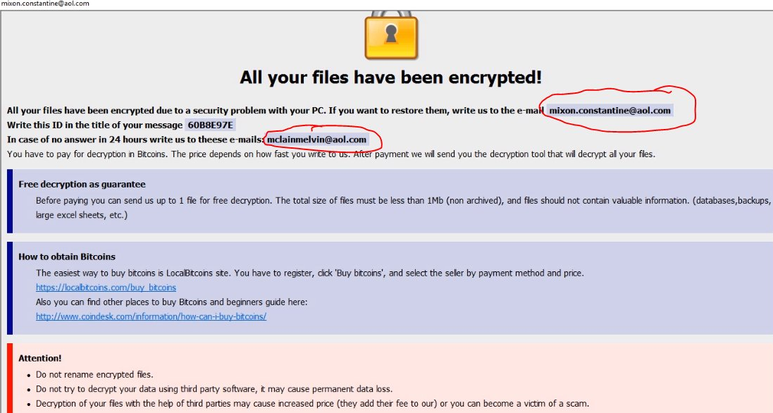 How to remove mixon.constantine@aol.com Ransomware. File recovery.