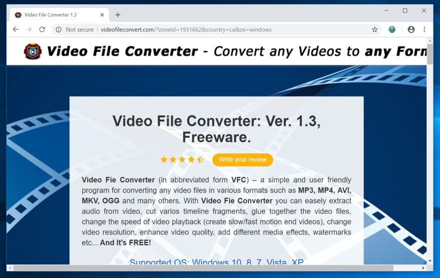 remove Videofileconvert.com hijacker