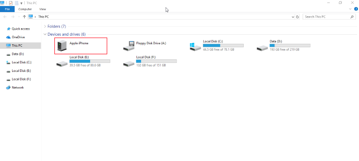 transfer photos with Windows Files Explorer
