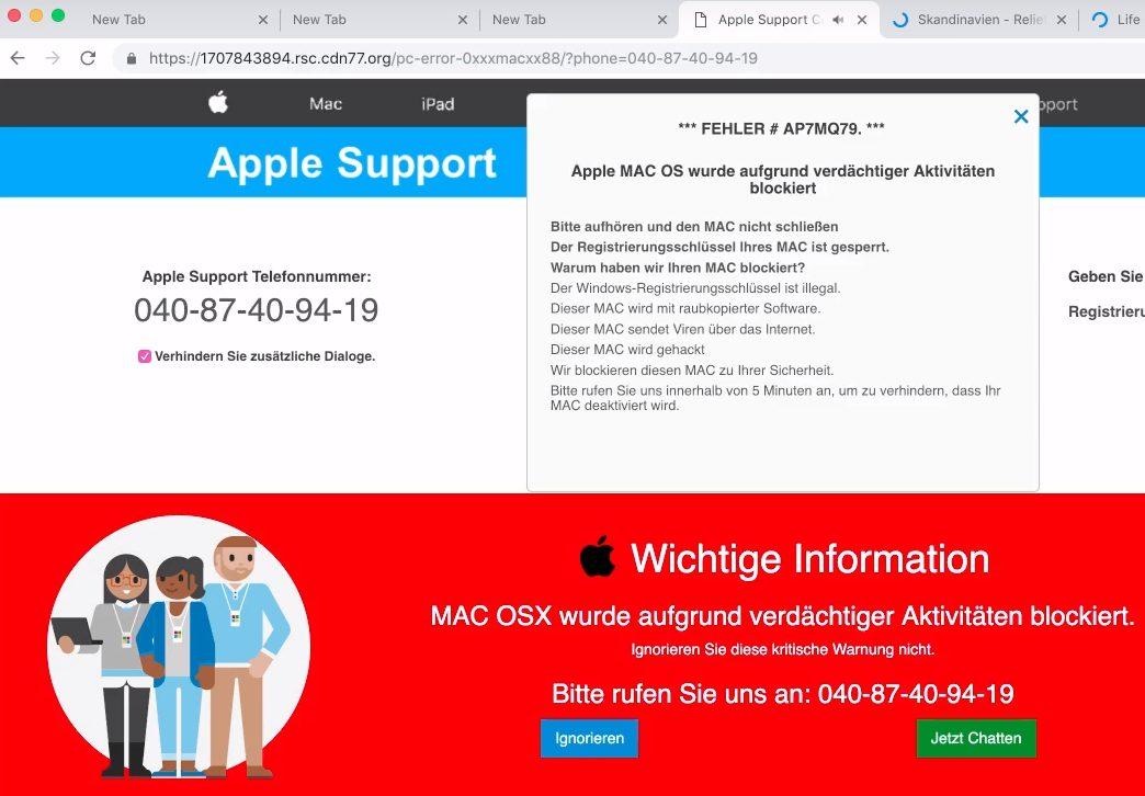 remove Fehler # AP7MQ79 pop-up