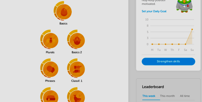 duolingo application for learning languages