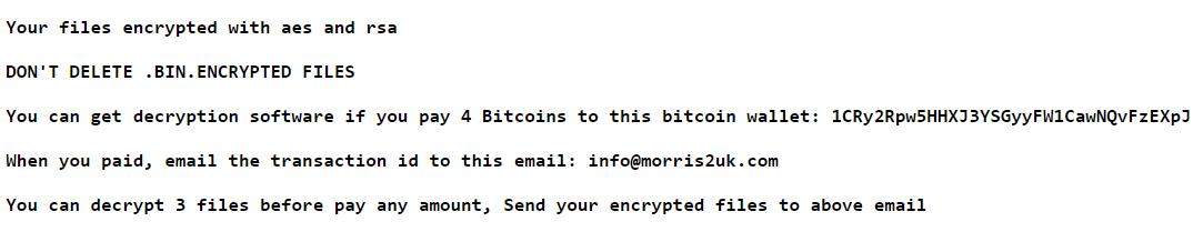 MorrisBatchCrypt ransomware