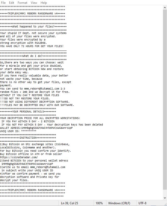 TripleM (MMM) Reborn v4 ransomware