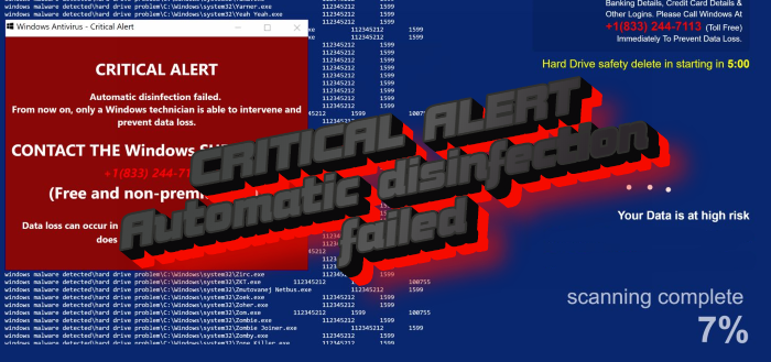 """How to remove """"CRITICAL ALERT – Automatic disinfection failed"""" pop-up scam"""