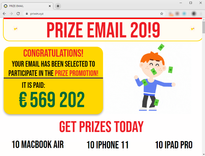 How to remove PRIZE EMAIL scam